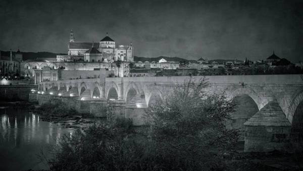 Photograph - Puente Romano Cordoba Spain Night Bw by Joan Carroll