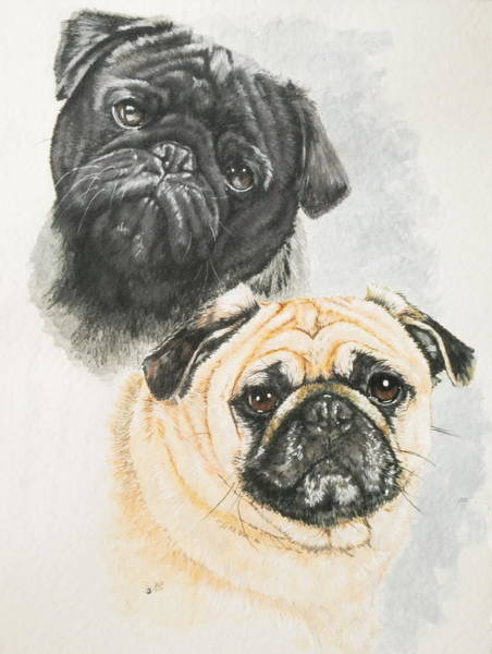 Wall Art - Painting - Pug Brothers by Barbara Keith