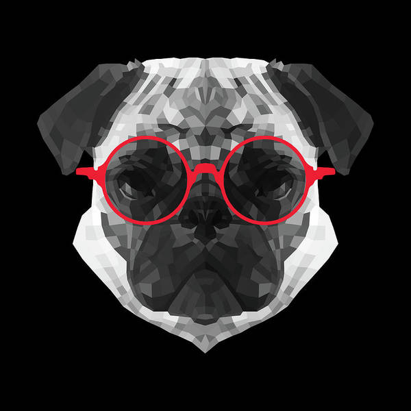 Wall Art - Digital Art - Pug In Red Glasses by Naxart Studio
