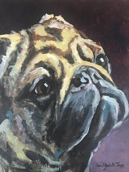 Wall Art - Painting - Pug Shot by Susan Elizabeth Jones