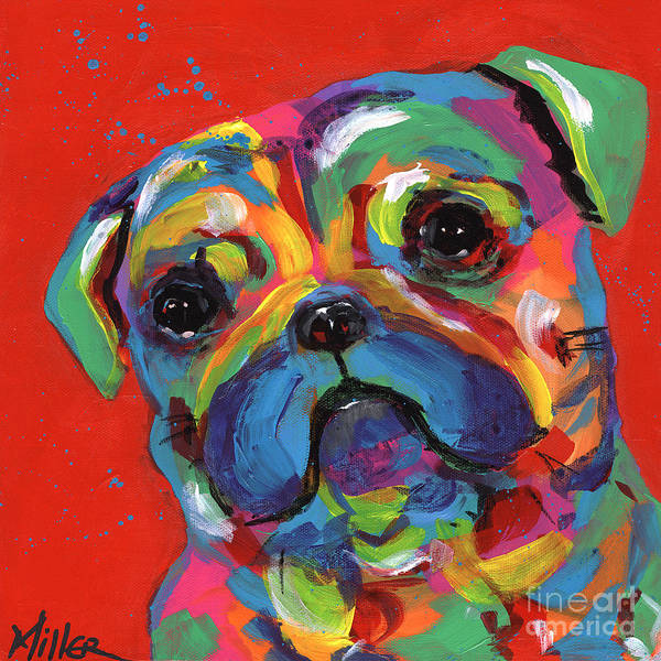 Wall Art - Painting - Pug by Tracy Miller