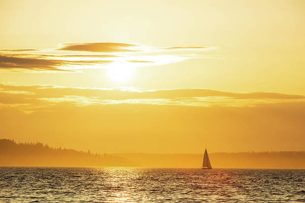 Digital Art - Puget Sound From Alki Beach by Michael Lee