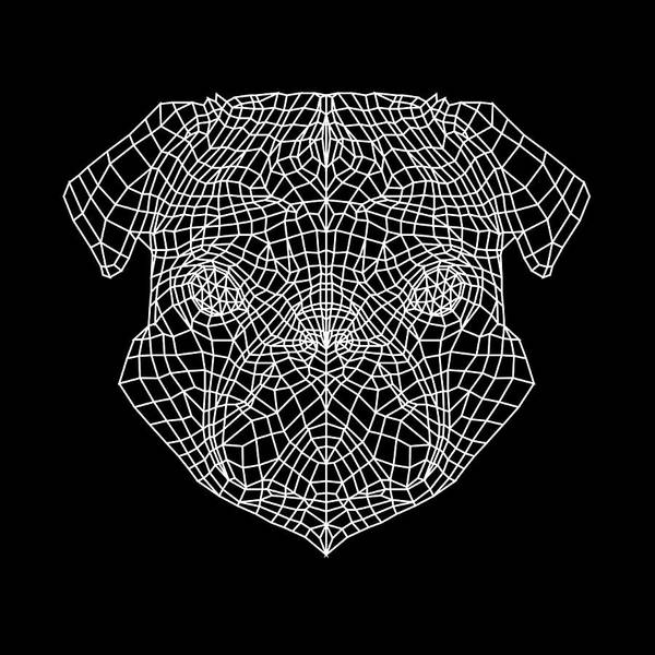 Wall Art - Digital Art - Pug's Face Mesh by Naxart Studio