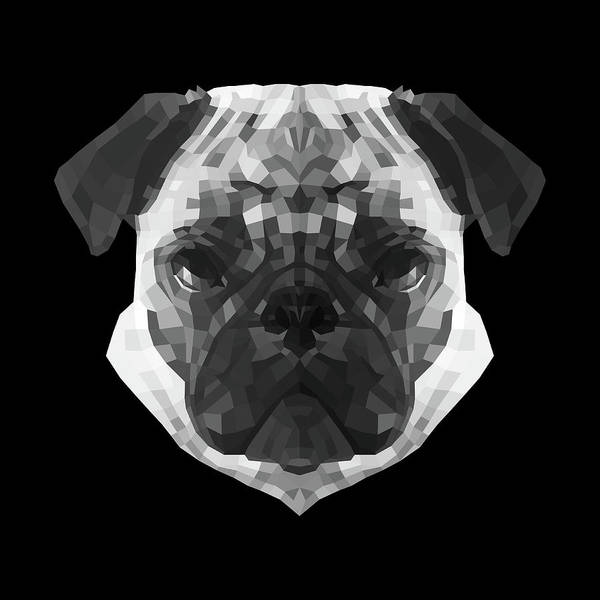 Wall Art - Digital Art - Pug's Face by Naxart Studio