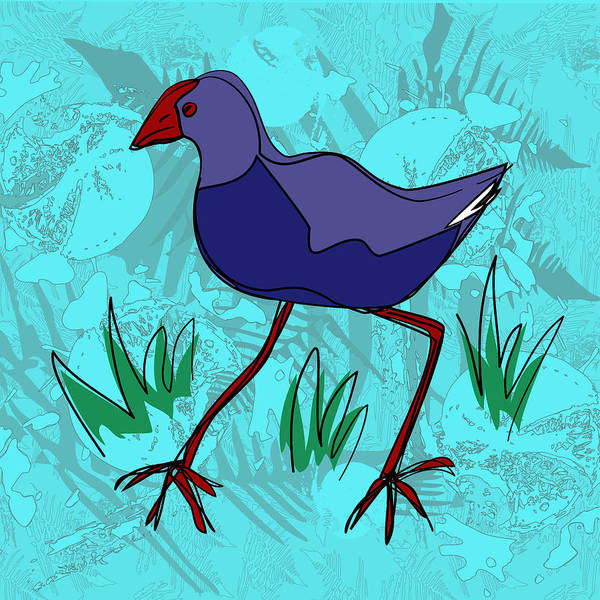 Painting - Pukeko In Blue by Jocelyn Friis