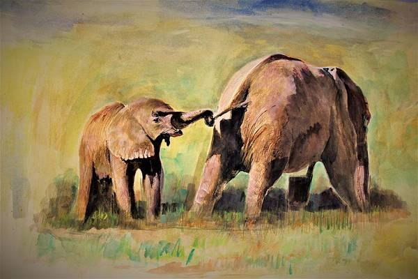 Wall Art - Painting - Pulling The Tail by Khalid Saeed