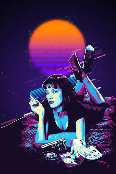 Digital Art - Pulp Fiction Revisited - Night Neon Mia Wallace  by Serge Averbukh