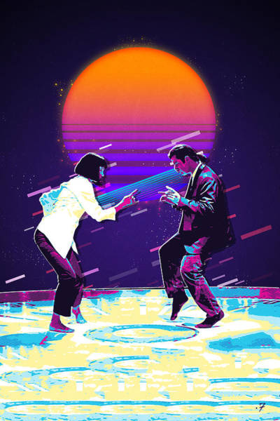 Digital Art - Pulp Fiction Revisited - Urban Neon Vincent Vega And Mia Wallace - The Dance by Serge Averbukh