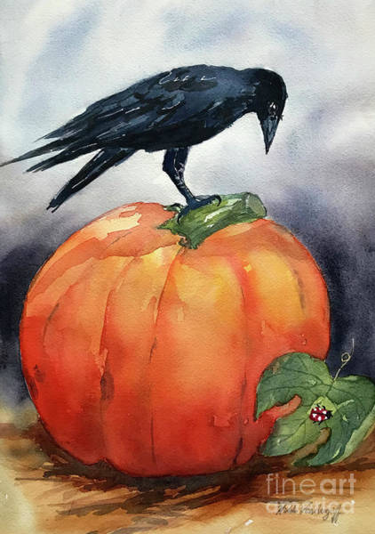 Painting - Pumpkin And Crow by Hilda Vandergriff