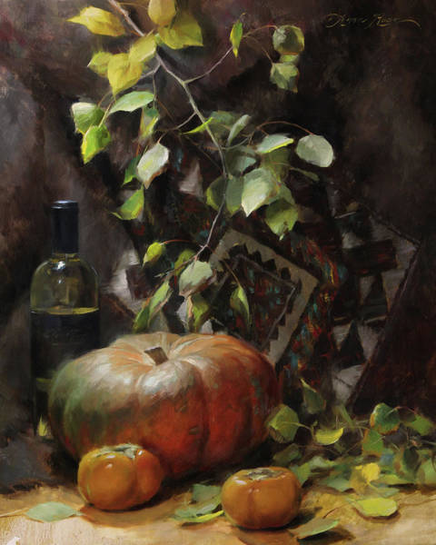 Persimmon Painting - Pumpkin And Persimmons by Anna Rose Bain