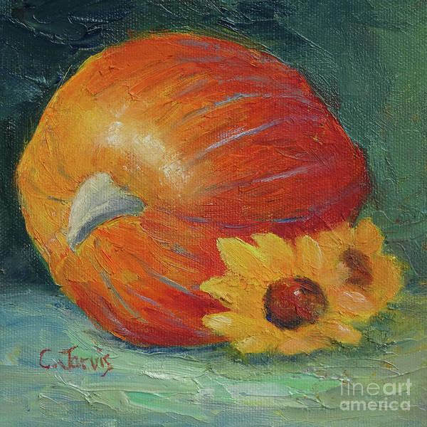 Painting - Pumpkin And Sunflowers by Carolyn Jarvis