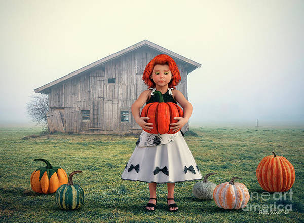 Digital Art - Pumpkin Girl by Jutta Maria Pusl