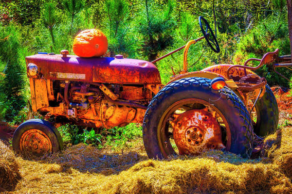 Wall Art - Photograph - Pumpkin On Old Tractor by Garry Gay
