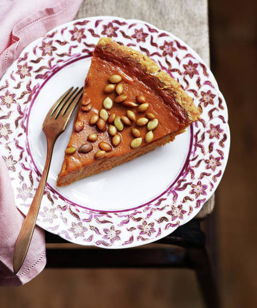 Napkin Photograph - Pumpkin Pie With Salty Roasted Pepitas by Iain Bagwell
