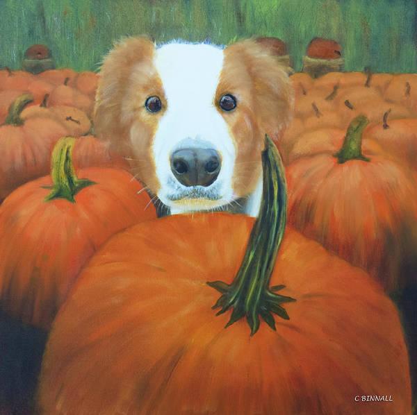 Wall Art - Painting - Pumpkin Puppy by Cheryl Binnall