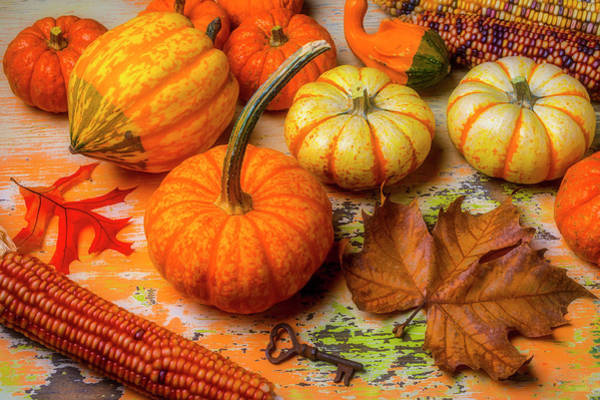 Wall Art - Photograph - Pumpkins And Old Key by Garry Gay
