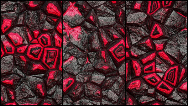 Digital Art - Punchy Red Rock Wall Abstract Triptych by Don Northup