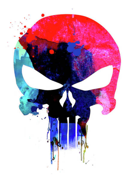 Wall Art - Mixed Media - Punisher Watercolor by Naxart Studio