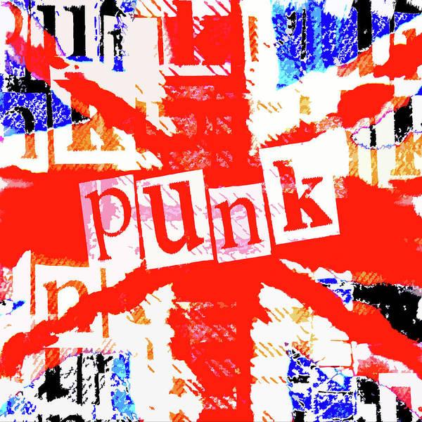Punk Rock Digital Art - Punk Union Jack Graphic by Roseanne Jones