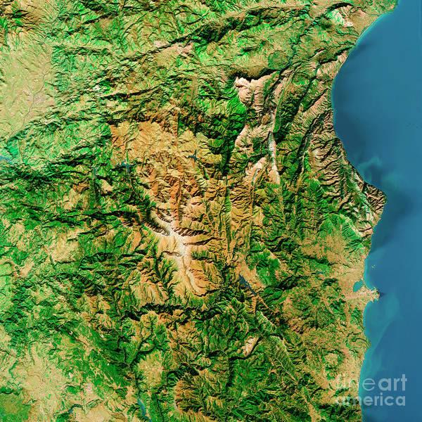 Wall Art - Digital Art - Punta La Marmora Sardinia Italy Topographic Map Top View Feb 201 by Frank Ramspott