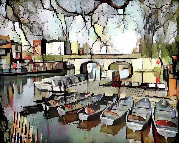 Digital Art - Punting On The Thames - Watercolour by Pennie McCracken