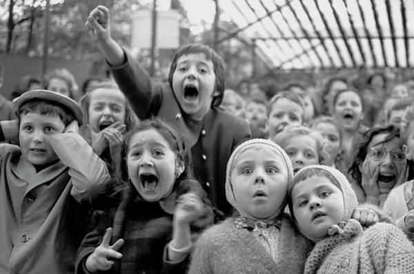 Outdoors Photograph - Puppet Audience by Alfred Eisenstaedt