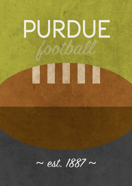 Wall Art - Mixed Media - Purdue Football Minimalist Retro Sports Poster Series 011 by Design Turnpike