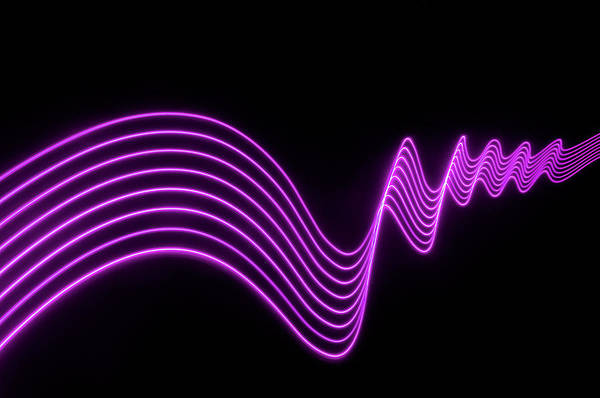 Laser Photograph - Purple Abstract Lights Trails And by John Rensten