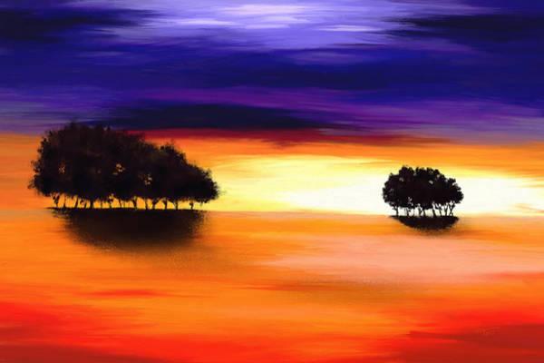 Digital Art - Purple And Orange Landscape by Tanja Udelhofen