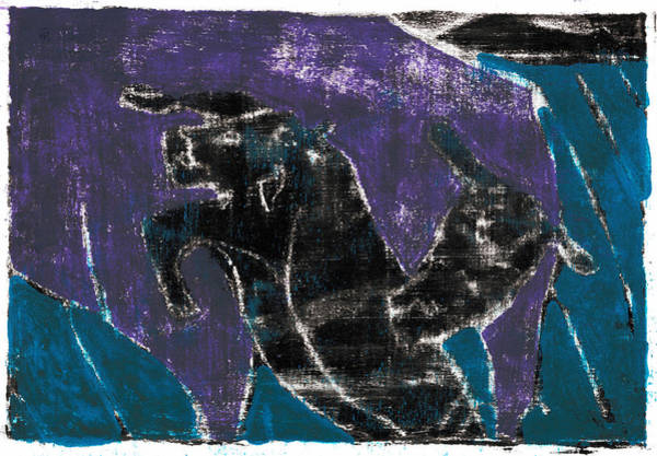 Painting - Purple Cow And Calf by Artist Dot