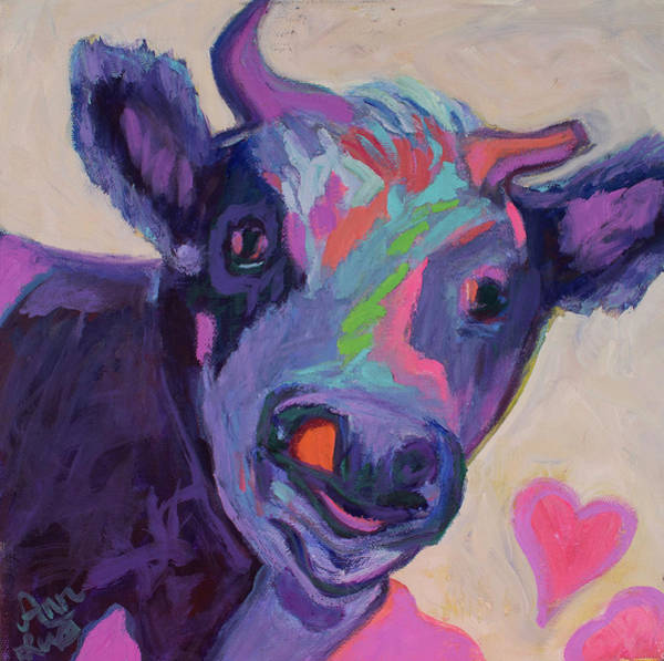 Wall Art - Painting - Purple Cow by Ann Lutz