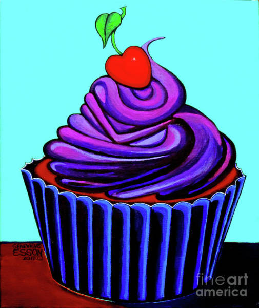 Icing Painting - Purple Cupcake With Cherry by Genevieve Esson