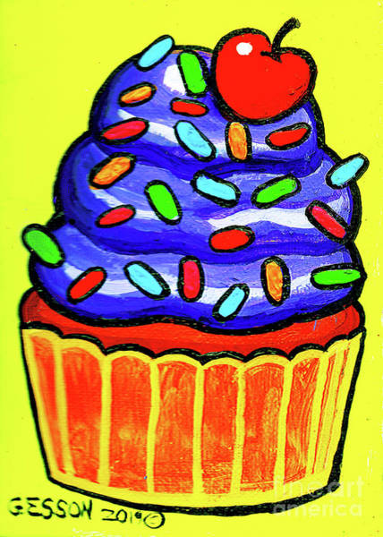 Icing Painting - Purple Cupcake With Sprinkles by Genevieve Esson