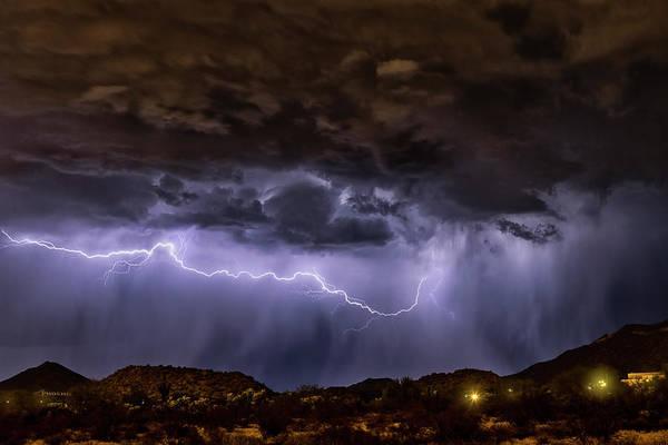 Wall Art - Photograph - Purple Desert Lightning  by Saija Lehtonen