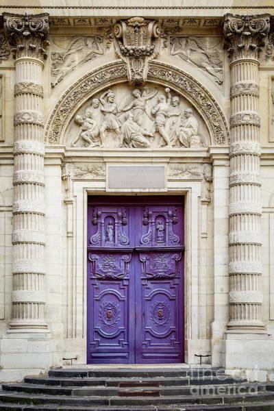 Wall Art - Photograph - Purple Doors To Saint Etienne Du-mont by Brian Jannsen