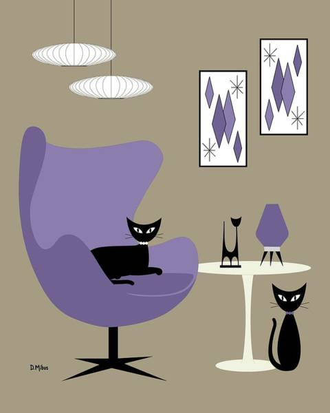 Digital Art - Purple Egg Chair With Cats by Donna Mibus