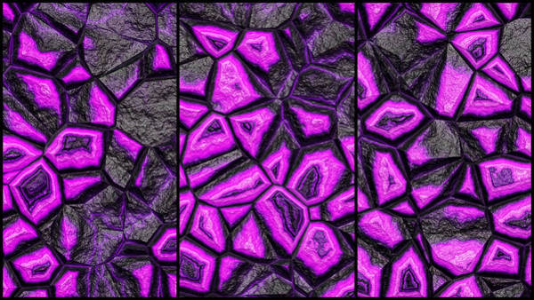 Digital Art - Purple Fantasy Stone Wall Triptych by Don Northup