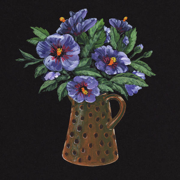 Wall Art - Painting - Purple Flowers Polka Dots Vase Floral Impressionism  by Irina Sztukowski