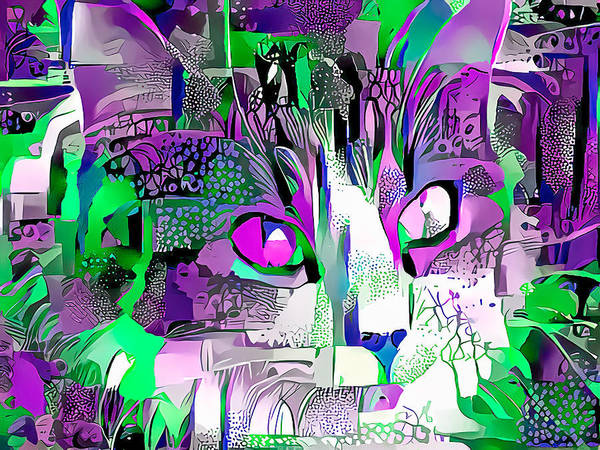 Digital Art - Purple Fluffy Cat Abstract by Don Northup