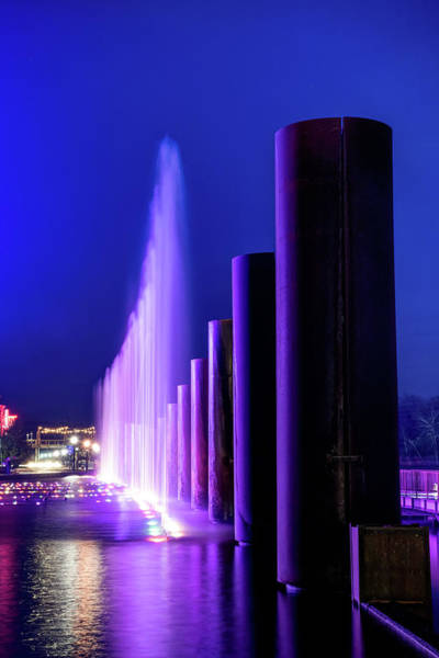 Photograph - Purple Fountain Majesty - Branson Landing At Dusk by Gregory Ballos