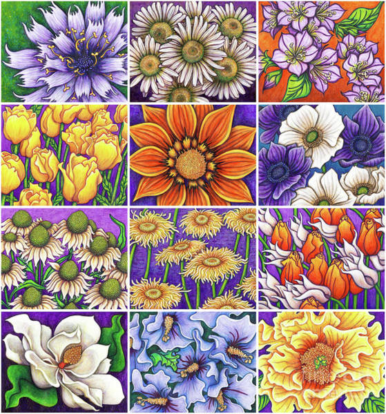 Painting - Purple Garden Patchwork by Amy E Fraser