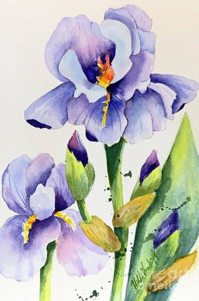 Painting - Purple Iris And Buds by Hilda Vandergriff