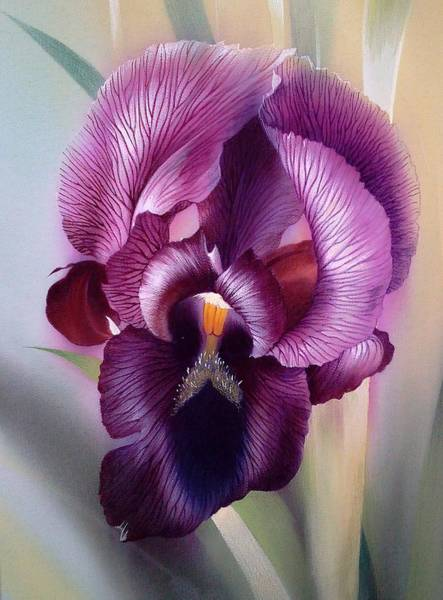Painting - Purple Iris Head 1 by Alina Oseeva