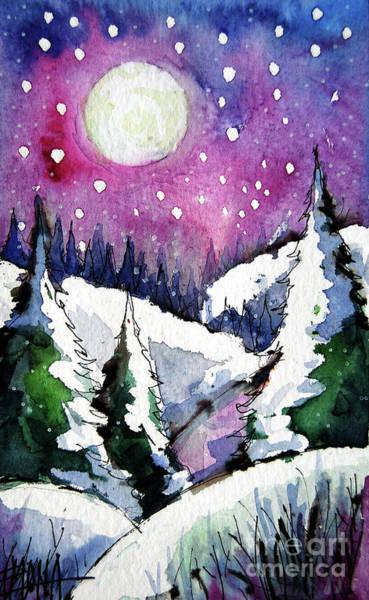 Aurora Borealis Painting - Purple Light - Winterscape Watercolor - Mona Edulesco by Mona Edulesco