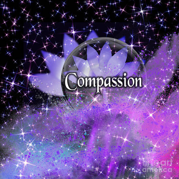 Digital Art - Purple Lotus Compassion  by Rachel Hannah