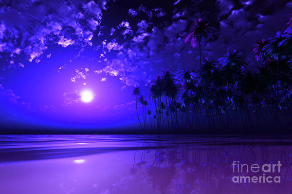 Wall Art - Photograph - Purple Moon Over Tropic Sea by Aleksey Tugolukov