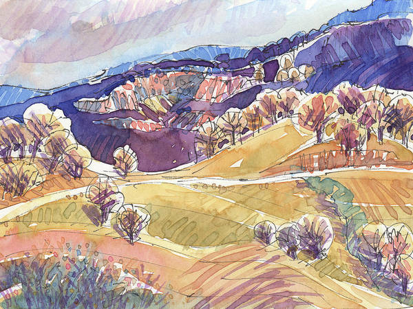 Painting - Purple Mountains, California by Judith Kunzle