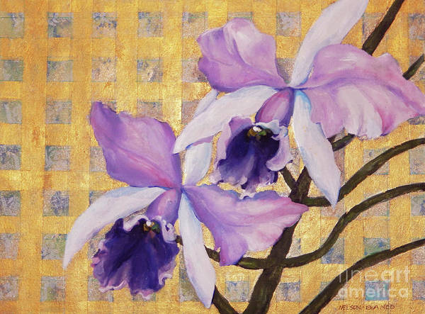 Wall Art - Painting - Purple Orchids  On Gold Background by Sharon Nelson-Bianco