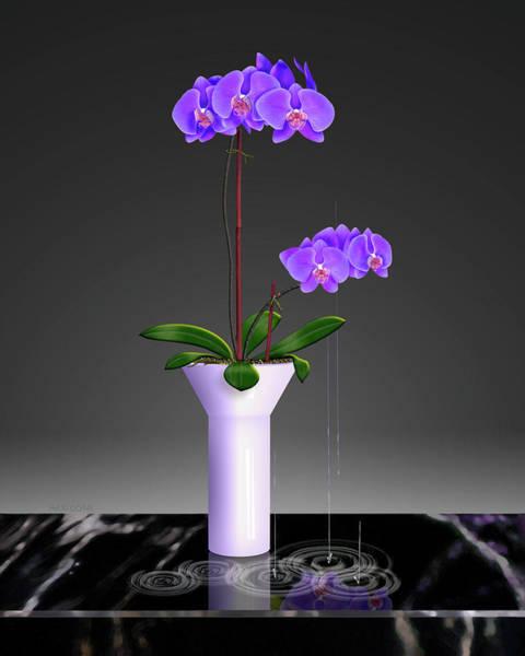 Painting - Purple Phalaenopsis Orchids In Vase by David Arrigoni