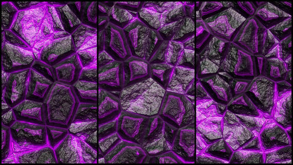 Digital Art - Purple Rock Wall Abstract Triptych by Don Northup
